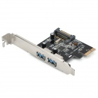 ULANSON PCIE USB 3.0 2-Port Expansion Card w/ External 15-Pin SATA Connector