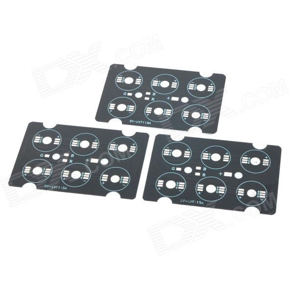Conexão JRLED 6 pinos RGB LED Emitter Series PCB Boards - Preto + Silver (3 PCS)