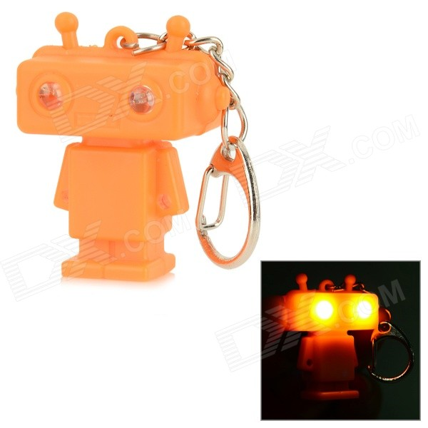 Creative Robot Style Keychain w/ White LED Light + Sound Effect - Orange (3 x AG10) dinosaur style led purple light keychain w sound effect green white 3 x ag10