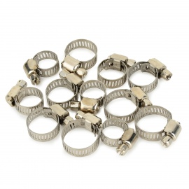 AC12-4 Stainless Steel Hose Hoops / Clamps Set - Silver (12 PCS)