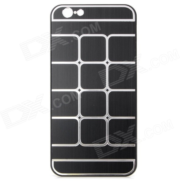 Grid Pattern Protective Aluminum Alloy + Plastic Case for IPHONE 6 4.7 - Black + Silver kinston kst92536 grid pattern protective aluminium back case for iphone 6 4 7 silver