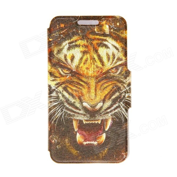 Kinston Tiger Head Pattern PU Leather Full Body Case with Stand for IPHONE 6 4.7 - Brown + Yellow kinston gentleman pattern pu leather full body case with stand for iphone 6 4 7 brown white