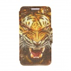 "Kinston Tiger Head Pattern PU Leather Full Body Case with Stand for IPHONE 6 4.7"" - Brown + Yellow"