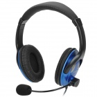 OVANN OV-T900 3.5mm Wired Headband Stereo Headphones w/ Microphone - Black + Blue