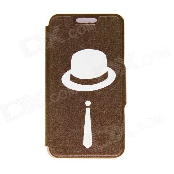 Kinston Gentleman Pattern PU Leather Full Body Case with Stand for IPHONE 6 4.7 - Brown + White