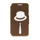 "Kinston Gentleman Pattern PU Leather Full Body Case with Stand for IPHONE 6 4.7"" - Brown + White"
