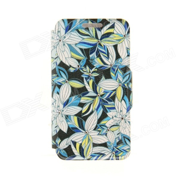 Kinston Flower Patterned PU Leather + Plastic Protective Case for IPhone 6 4.7 - Multi-colored kinston flower patterned pu plastic protective case w stand card slot for 4 7 iphone 6 pink