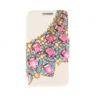 """Kinston KST91815 Rhinestones Decorated PU Leather + Plastic Cover for IPHONE 6 4.7"""" - Blue + Pink"""