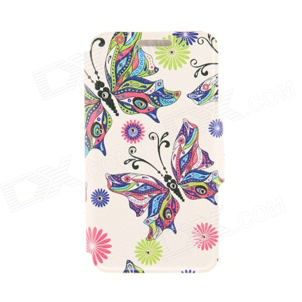 Kinston KST91817 Butterfly + Rhinestones PU Leather + Plastic Cover for IPHONE 6 4.7 - Multicolored kinston kst91820 petunia pattern pu leather plastic cover for iphone 6 4 7 pink multicolored
