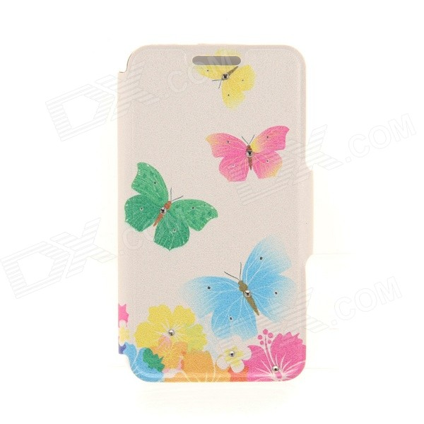 Kinston KST91818 Butterlfy w/ Rhinestones PU Leather + Plastic Cover for IPHONE 6 4.7 - Multicolor kinston flowers
