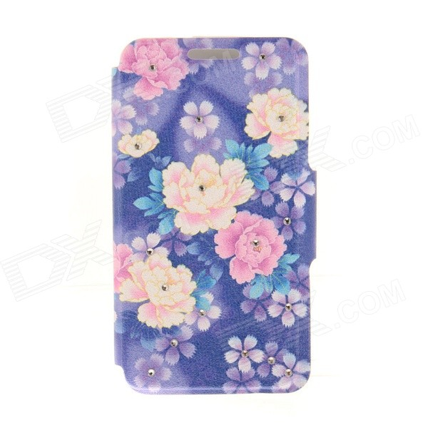 Kinston KST91819 Flowers Pattern PU Leather + Plastic Cover for IPHONE 6 4.7 - Purple + Multicolor kinston kst91820 petunia pattern pu leather plastic cover for iphone 6 4 7 pink multicolored
