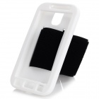 Outdoor Sport Running Protective Back Case w/ Arm Strap for Samsung Galaxy S4 i9500 - White + Black