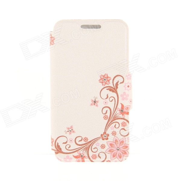 Kinston KST91823 Symmetric Lace PU Leather + Plastic Cover for IPHONE 6 4.7 - Brown + Pink for iphone 6 plus wood grain pu leather coated plastic cover brown