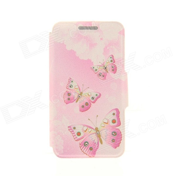 Kinston KST91825 Butterfly Pattern PU Leather + Plastic Cover for IPHONE 6 4.7 - Pink + Multicolor kinston kst91820 petunia pattern pu leather plastic cover for iphone 6 4 7 pink multicolored
