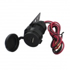 DIY Water-resistant USB Motorcycle Cigarette Lighter Charger - Black
