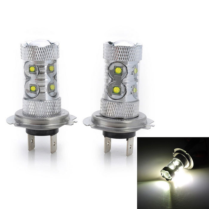 Marsing H7 50W 4000lm 6500K 10-SMD 3535 LED White Car Fog / Head Lights - Silver (12~24V / 2 PCS)