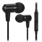 VYKON MK-3 Bass Stereo In-Ear Flat Cable Earphones w/ Microphone for Samsung - Black (3.5mm Plug)
