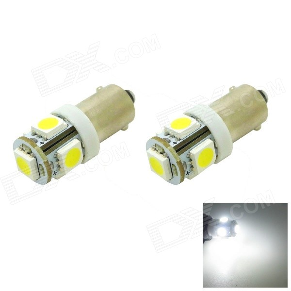 HONSCO BAX9s H6W 1W 70lm 5-SMD 5050 LED 6500K Cool White Light Car Signal Bulbs (Pair / 12V)