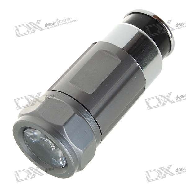 Car Cigarette Lighter Socket Rechargeable 0.5W 30-Lumen Mini LED Flashlight - Grey (DC 12V) car cigarette lighter socket  12v