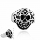 R008-7 Cool Pirate Hat Shaped 316L Stainless Steel Ring - Silver + Black (U.S Size 7)