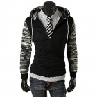 W86 Men's Splicing Design Fashion Hooded Fleece Jacket - Camouflage (L)