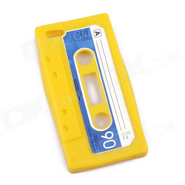 PANNOVO Unique Protective Retro Cassette Tape Pattern Silicon Case for IPHONE 5 / 5S - Yellow