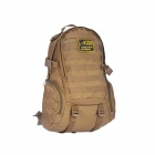 JUNGLE MAN T186 Outdoor Hiking Climbing 3D Tactical Nylon Shoulders Bag Backpack - Coyote Brown