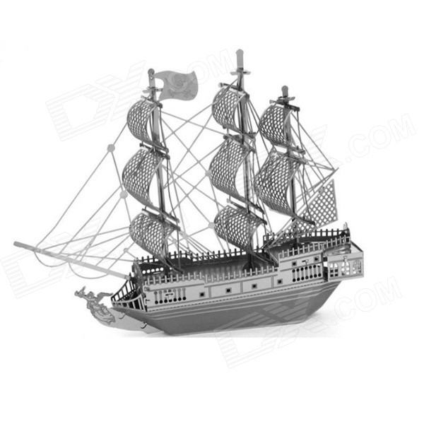 3D Metal Pirate Sailing Ship Assembled Educational Toy for Kids / Children - Antique Silver + Black