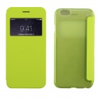 "Stylish Flip Open PC + PU Case w/ Display Windown for IPHONE 6 4.7"" - Fluorescent Green"