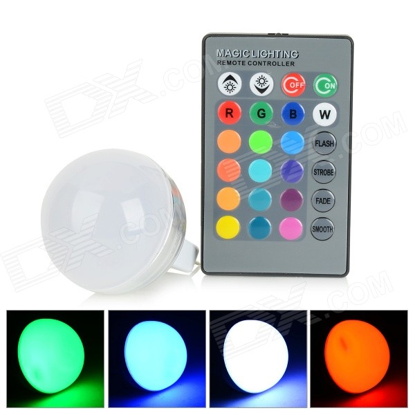 UItraFire MR16 3W LED RGB Light Remote Control Lamp Bulb - Silver + White (12V)