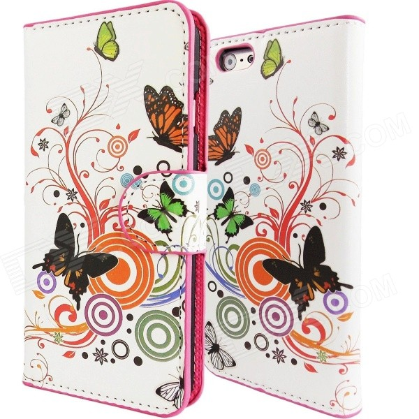 Stylish Patterned PU Leather Wallet Cover Case w/ Card Slot for IPHONE 6 4.7 - White + Orange rhinestone lattice pc silicone hybrid cover case for iphone 7 plus black purple