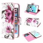 "Mini Elegant Flower Pattern PU Leather Case w/ Card Slot for IPHONE 6 4.7""- White + Pink"