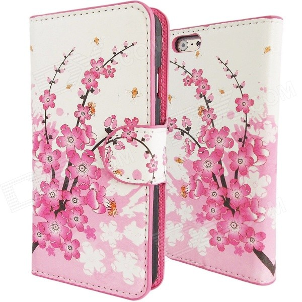 Sweet Cherry Blossom Pattern PU Leather Wallet Cover Case for IPHONE 6 4.7 - White + Pink