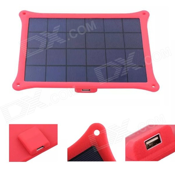 SP5W Photosynthetic 5W Solar Panel Lithium Battery Mobile Phone Charger - Deep Pink