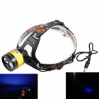 KINFIRE 220lm 4-Mode White + Blue Headlamp w/ CREE XP-E Q5 + XR-E R3 - Black + Golden (2 x 18650)