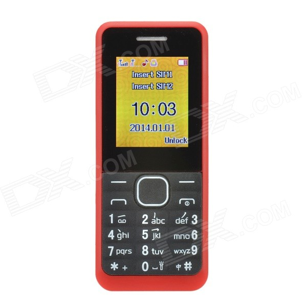 1.77 LCD Screen Dual-SIM Card Quad-band GSM Bar Phone w/ MP3 / FM - Red + Black w838 gsm watch phone w 1 5 resistive screen quad band fm and micro sim deep pink