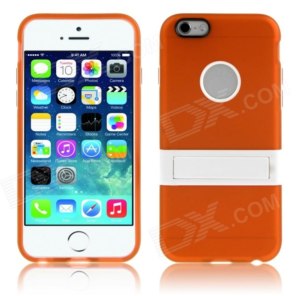 ENKAY Protective TPU + Plastic Back Case w/ Stand for IPHONE 6 Plus 5.5 - Orange enkay protective tpu back case w stand for samsung galaxy mega 6 3 i9200 i9208 pink