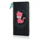 Cute Cartoon Cat Pattern PU Long Wallet for Women - Black + Red + Multi-Color