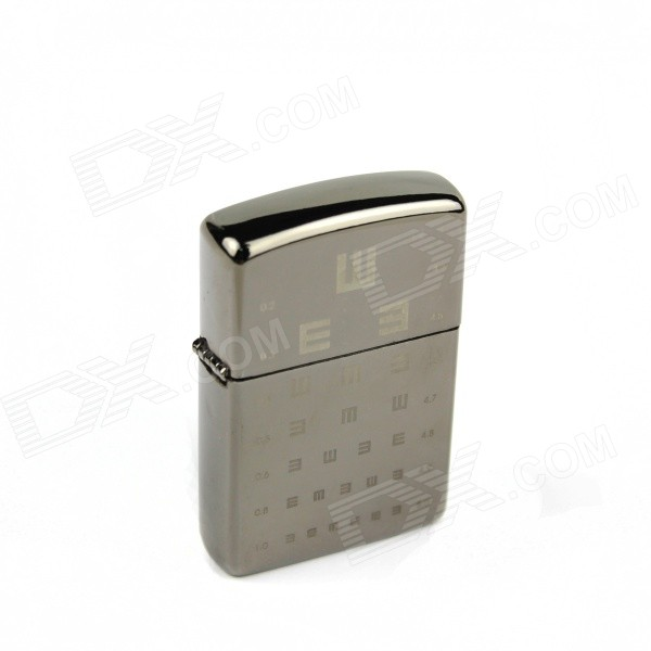 Vision Chart Style Iron Cigarette Lighter - Silver + Black