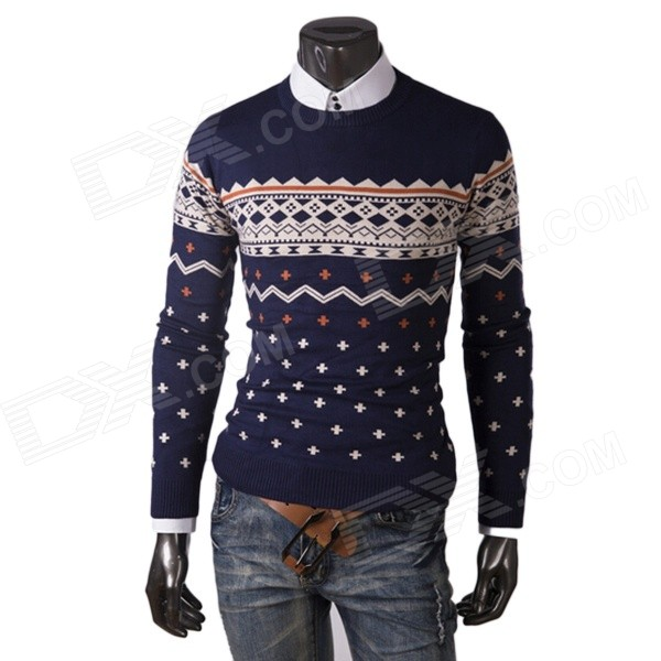 REVERIE UOMO WY50 Winter Men's Casual Cotton Blended Slim Pullover Sweater - Deep Blue + Beige (L) фрезы 2s 1 1 2 1 2 3 king size c zd 1 2 1 2 3