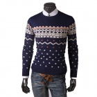 REVERIE UOMO WY50 Winter Men's Casual Cotton Blended Slim Pullover Sweater - Deep Blue + Beige (L)