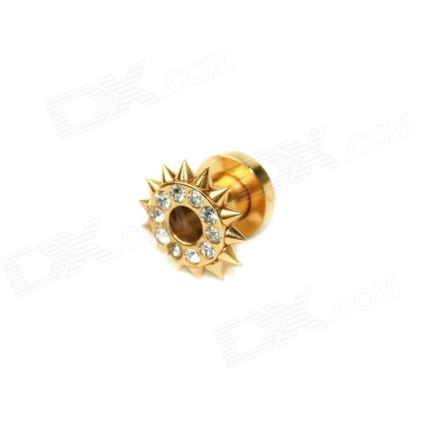 EK-005 Men's Cool Punk Titanium Expansion Earlobe Plug Ear Stud - Golden