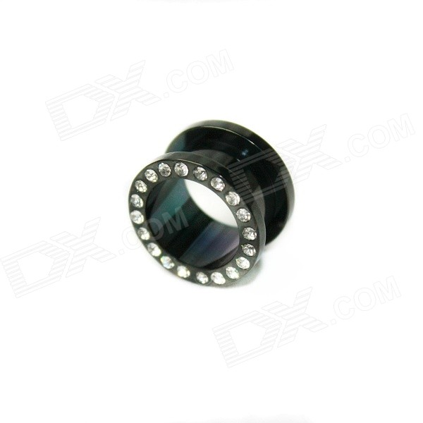EK-007 Cool Punk Titanium Expansion Earlobe Plug Ear Stud - Black Gray