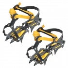 Adjustable Climbing / Mountaineering Snow Ice Shoes Spike Grip Crampons - Black + Orange (Pair)