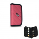 BUBM Elastic Water-resistant Shock-resistant USB Disk / Data Cable Storage Bag - Black + Deep Pink