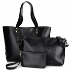 Women's Fashion PU One-shoulder Bag + Messenger Bag + Handbag Set - Black