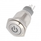 16mm 24V 3A Stainless Steel Self-lock Button Switch w/ Green Light LED - Silver