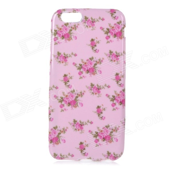 Roses Patterned Protective Flip-Open TPU Case for IPHONE 6 - Pink + Deep Pink usams perfume style tpu back case for iphone 6 4 7 brown multi color