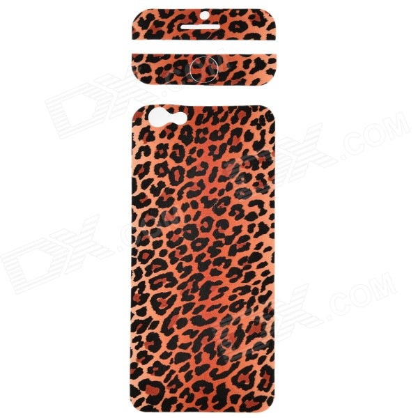 "Fashion Leopard Skin Pattern Front + Back PVC Stickers Set for IPHONE 6 4.7"" - Brown"