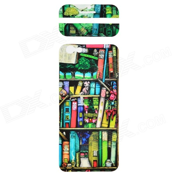 Stylish Bookshelf Pattern Decorative Front + Back PVC Stickers Set for IPHONE 6 4.7